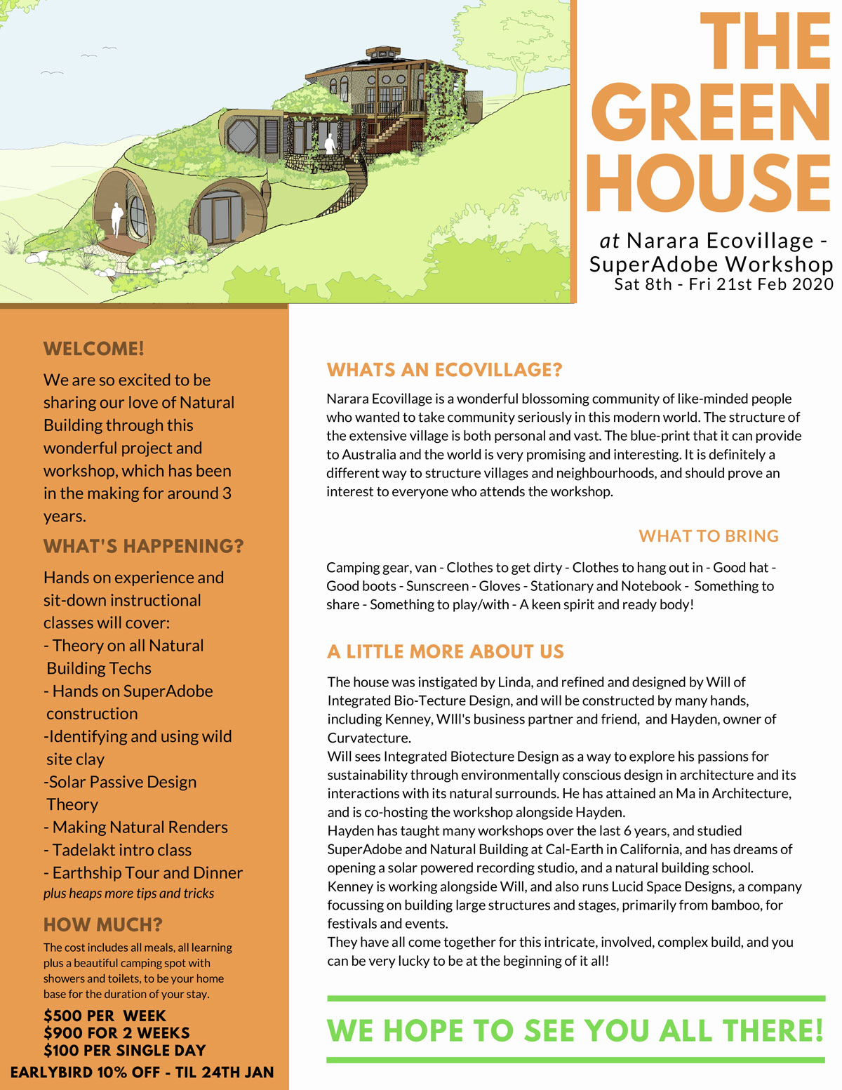 The Green House info flyer
